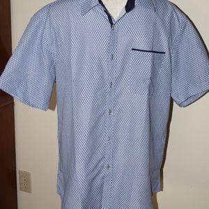 Bohio Blue White Print Short Sleeve Shirt L
